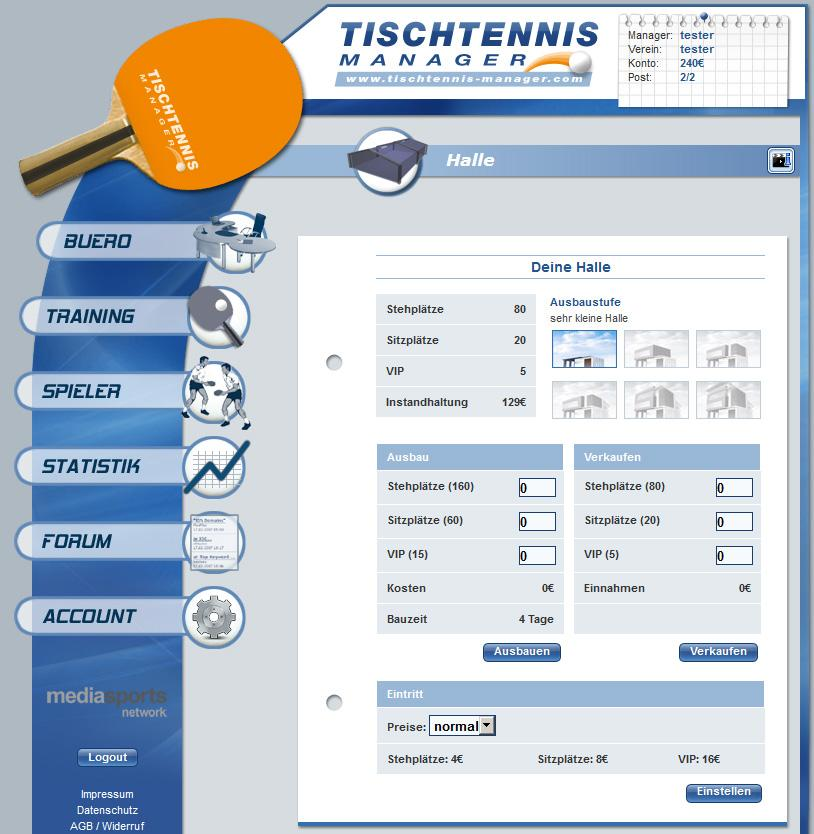 Tischtennis Manager- screenshot