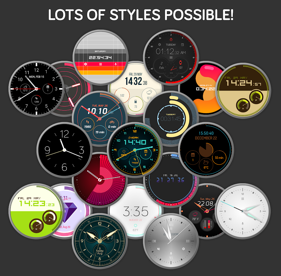 Pujie Black Watch Face for Android Wear- スクリーンショット