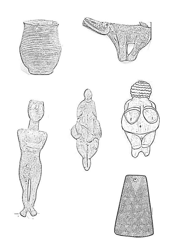 Esculturas prehistoricas para colorear