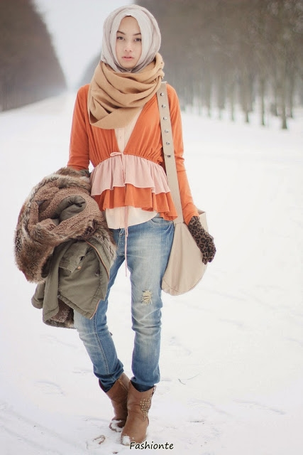 15 modern clothing hijab for winter fashionte. Black Bedroom Furniture Sets. Home Design Ideas