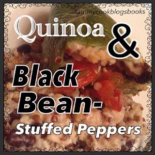 Quinoa & Black Bean-Stuffed Peppers ~ source:tammycookblogsbooks