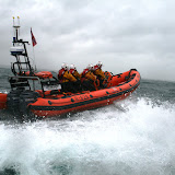 12 June 2011 - ILB exercise in rough weather (southerly force 7, gusting 8, heavy rain). ILB running down sea. (Photo credit: Rob Inett)
