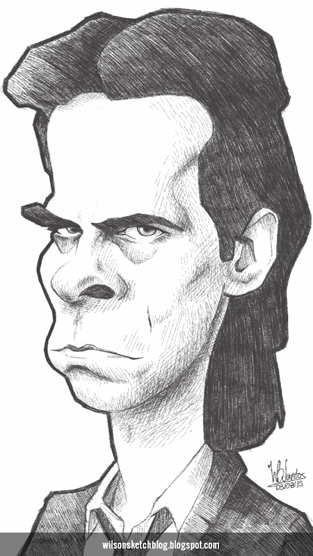 Cartoon caricature of Nick Cave.
