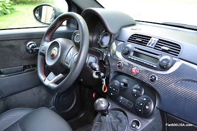 Fiat 500 Abarth with carbon fiber dashboard