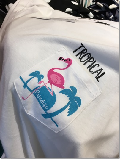 Tropical Paradise Flamingo white shirt @ Terranova
