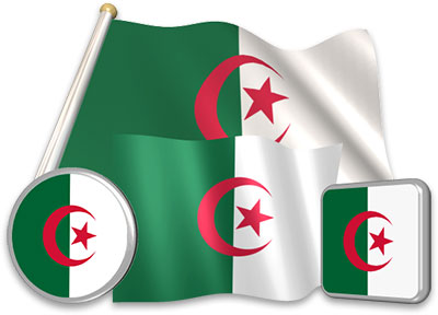 Algerian flag animated gif collection