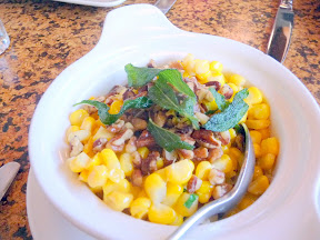The Country Cat, Portland Oregon, Creamed Corn with Toasted Pecans  and Fried Sage Leaves