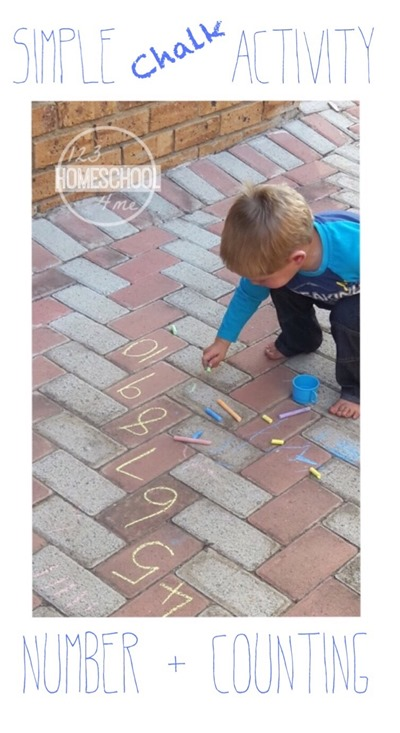 Simple Chalk Activity - Learning numbers and counting for toddler, preschool, and Kindergarten with this fun, hands on learning activity