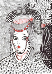 591 Zentangle Japanese Girl