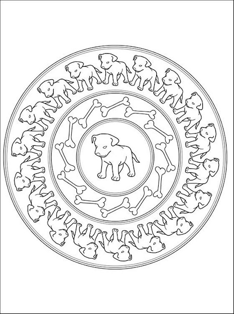 Puppies Mandala Coloring Pages