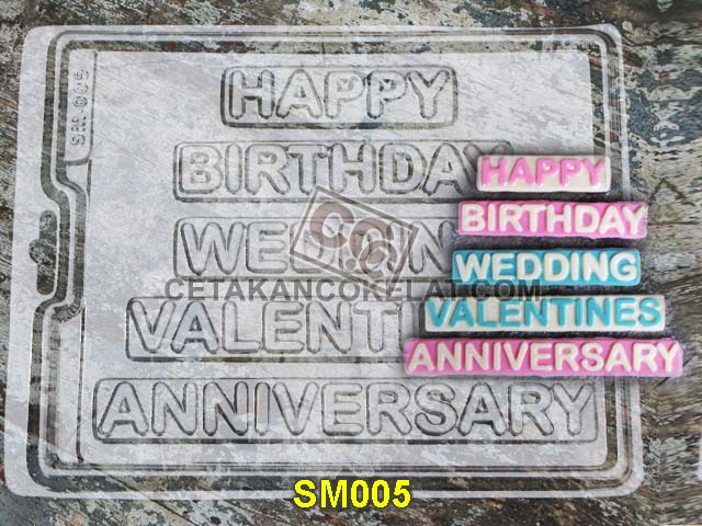 cetakan coklat cokelat SM005 SM05 SM5 mold mould happy birthday wedding valentine anniversary