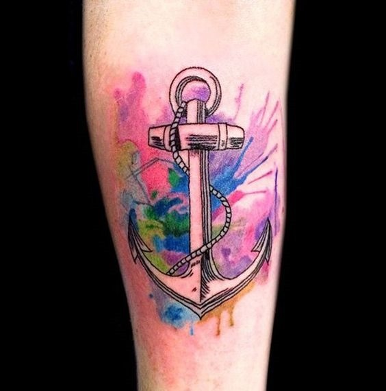 aquarela_ncora_do_antebraço_tatuagem
