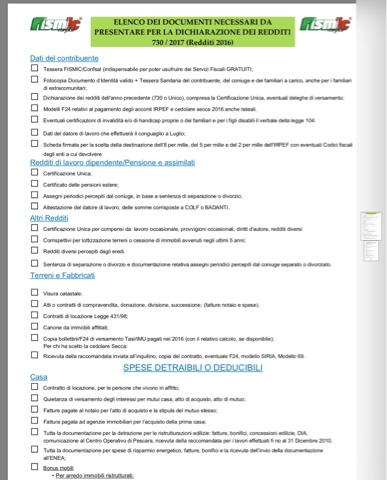 Fismic brescia documenti per 730 for 730 documenti