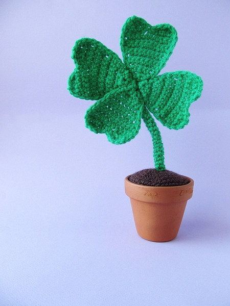 crocheted four leaf clover in a flowerpot