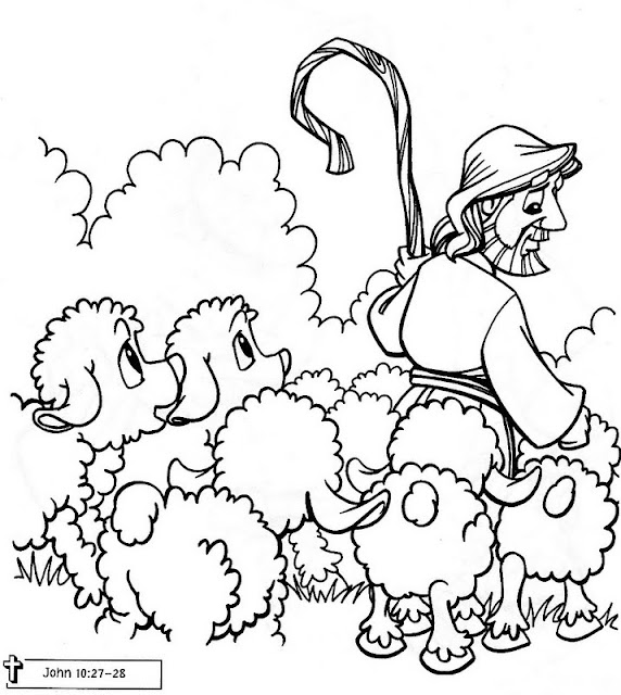 Jesús cuidando su rebaño para colorear