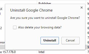 Seeing different Chrome Uninstall dialog box - Google Chrome