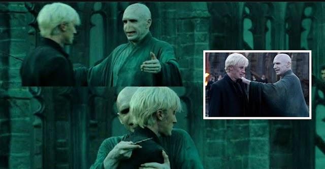 Tom Felton explica o que achou do abraço de Voldemort a Draco em Relíquias da morte e conta que a cena foi de improviso