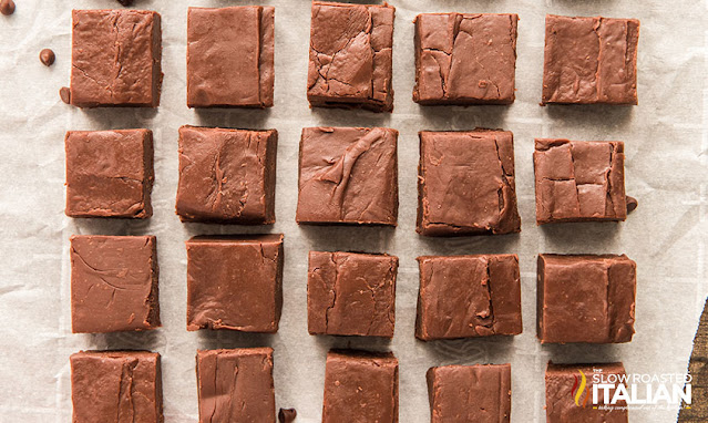 pieces of homemade fudge on parchment paper