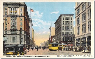 Street Scene from Indianapolis, Indiana.  Postcard owned by Nancy Hurley.