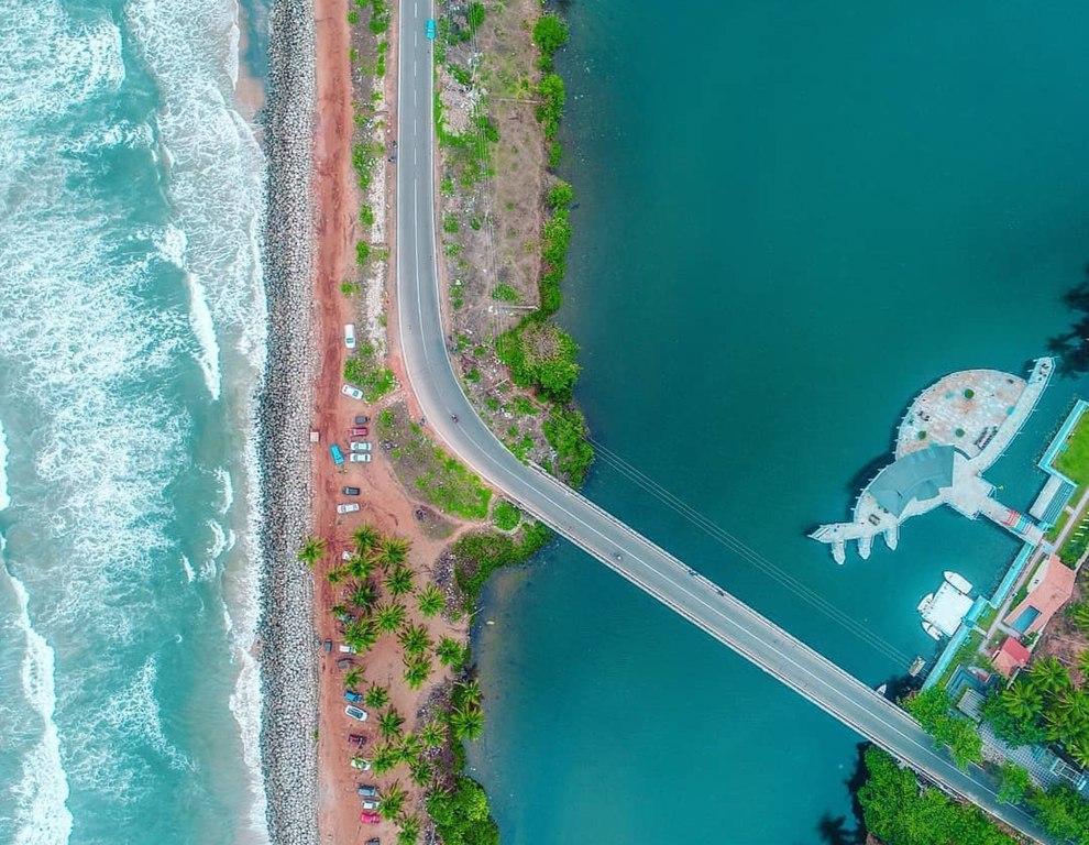 Drone shot of Kappil beach, Kerala