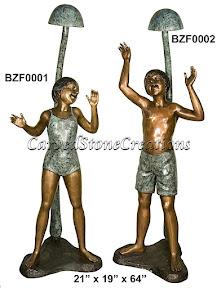 Bronze, Children, Fountain, Statue