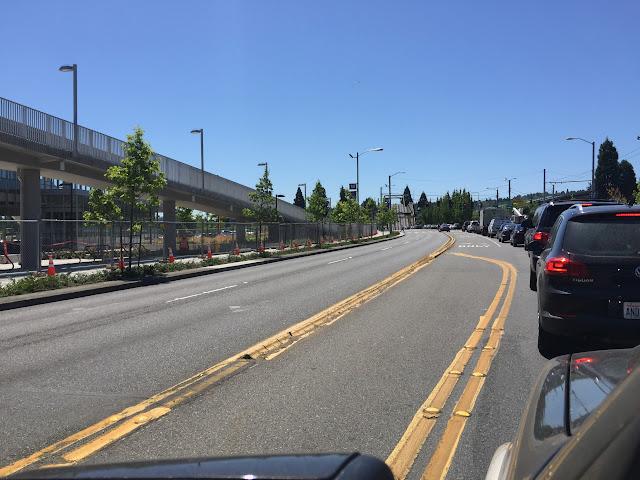 Waiting in traffic outside Husky Stadium for the Montlake Bridge.