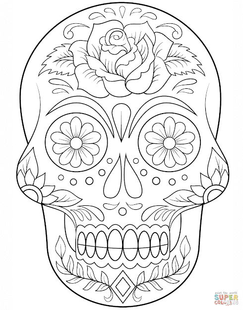 Skulls And Roses Coloring Pages Intended For Aspiration  Images