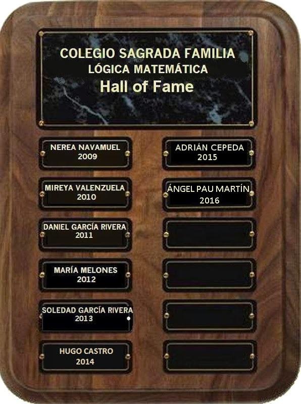 Salón de la Fama. Lógica Matemática. Colegio Sagrada Familia. Pinto