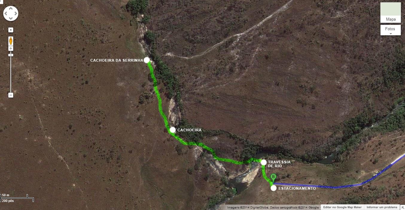 Cachoeira da Serrinha | Complexo da Fumaça | Trilha | Mapa | Carrancas/MG