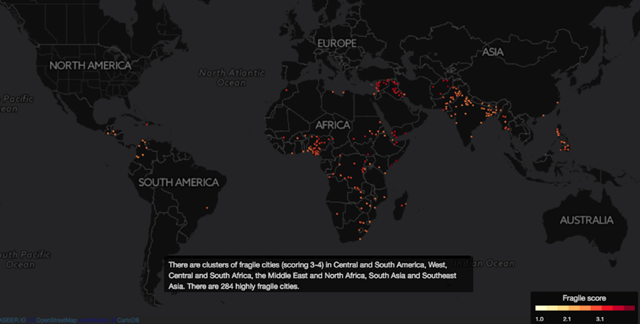 City-level vulnerability to climate change. Graphic: The Center for Climate and Security