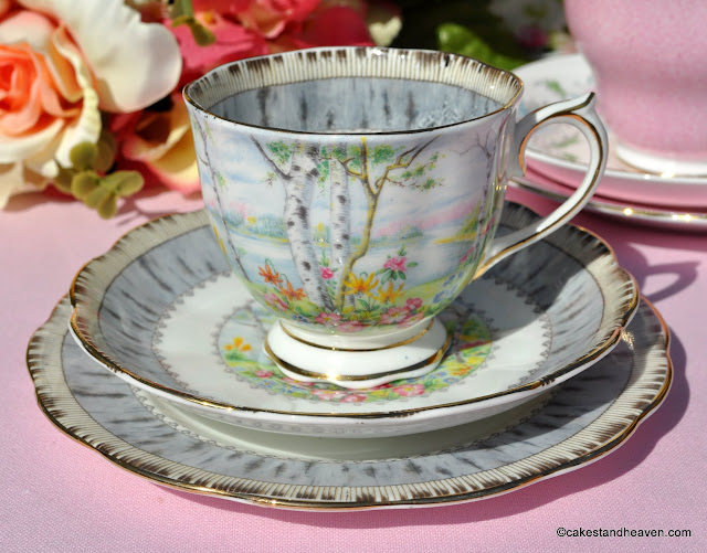 Royal Albert Silver Birch vintage tea cup trio