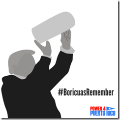 A #BoricuasRemember graphic showing an illustration of Trump throwing paper towels to Puerto Ricans after Hurricane Maria. Graphic: Boricuas Remember / Power 4 Puerto Rico