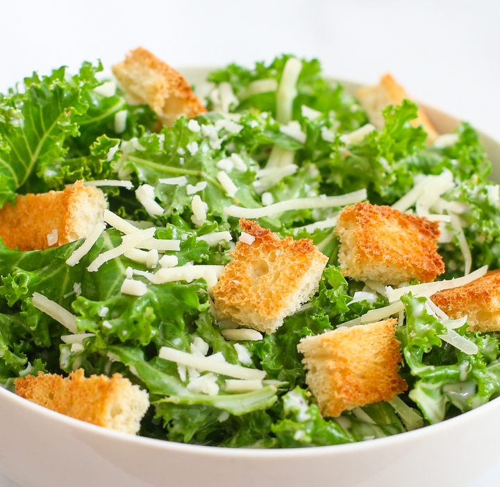 close-up photo of a Kale Caesar Salad