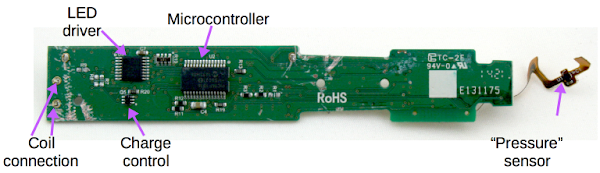The back of the Sonicare circuit board contains the PIC16F1516 microcontroller chip. The sensor is probably a Hall-effect magnetic field sensor.