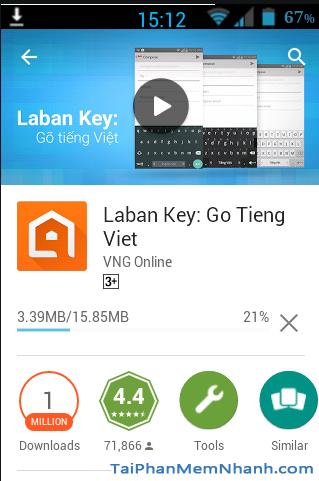 Đang cài đặt bộ gõ Tiếng Việt trên Android