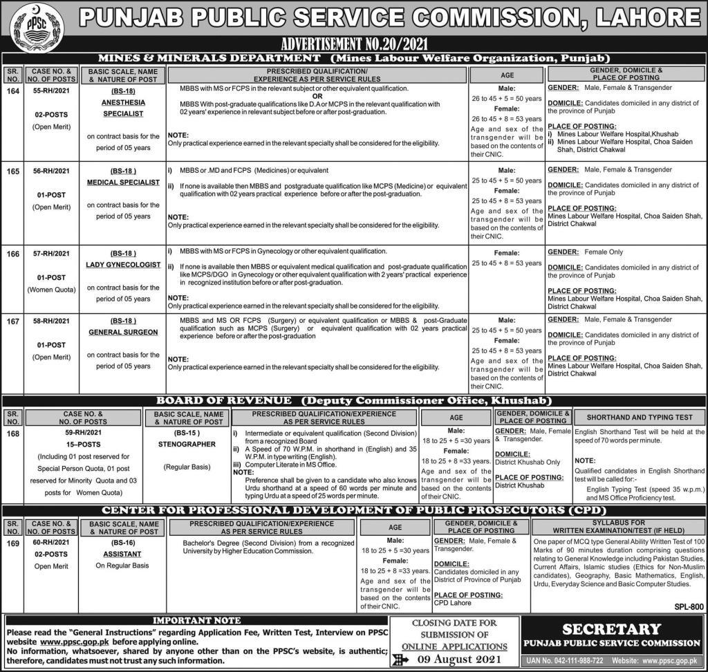 PPSC Jobs 2021 Official Advertisement