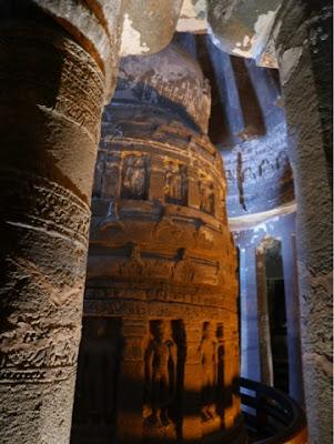 A stupa inside a cave at Ellora