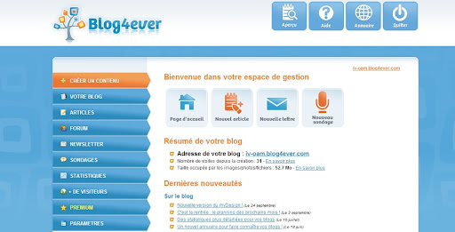 Interface d'administration du blog