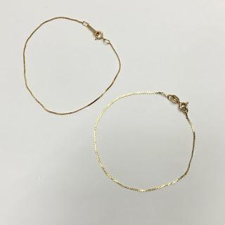 14K Gold Flat Chain Bracelet Pair