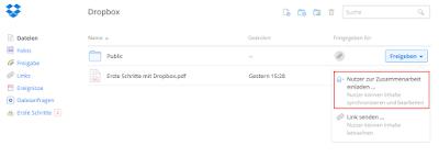 Dropbox für Geocacher: Screenshot Kontextmenü Freigeben
