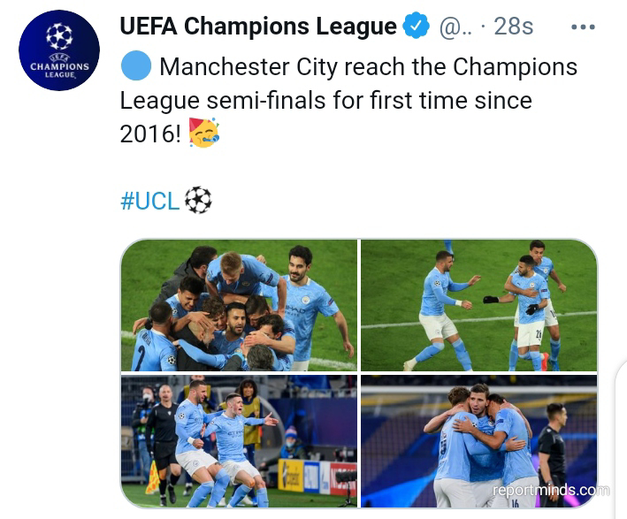 UEFA Champions League: Man City qualify for their first semi fínal since 2016