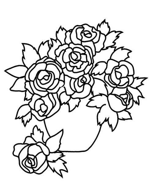 Flower Images With Roses Vase With Roses Sketch To Color