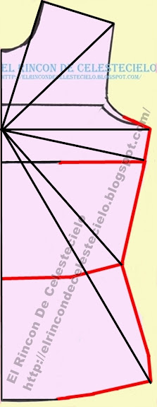Patrón básico delantero de blusa sin pinzas marcando diagonales para transformación en patrón para tejido de punto elongación máxima