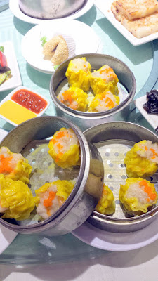 Shrimp and pork dumplings, shu mai. Dim sum at King Hua Restaurant in Alhambra, a mixture of push carts and being able to order off the menu for the best of both worlds in dim sum eating adventures in Los Angeles