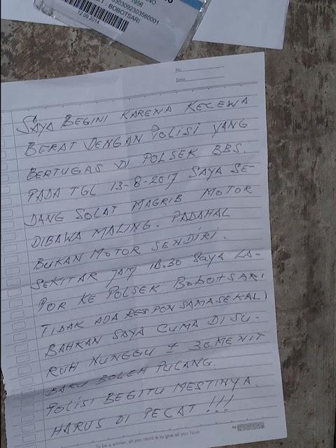 Surat Yang Sempat Ditulis Korban Sebelum Bunuh Diri