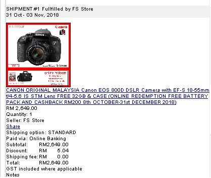 Canon EOS 800D - Lazada Order Details