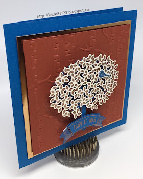 Linda Vich Creates: Thoughtful Branches in Copper. Masculine birthday card using Thoughtful Branches with copper foil and copper embossing.