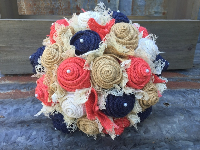 burlap and lace bridal bouquet with navy and coral burlap roses and lace