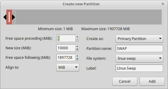 4 Linux swap partition created