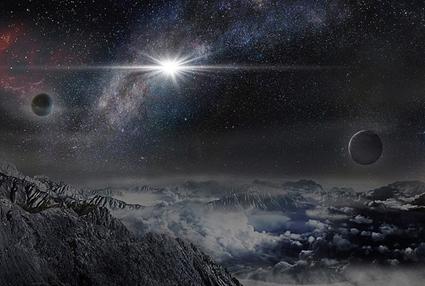 ilustração da explosão da supernova brilhante